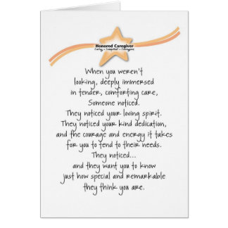 Honored Caregiver Card