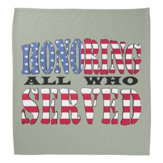 Honoring All Who Served American Flag Bandana