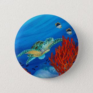Honu and Black Coral 6 Cm Round Badge