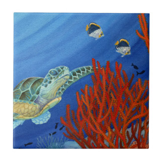 Honu and Black Coral Ceramic Tile