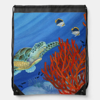 Honu and Black Coral Drawstring Bag