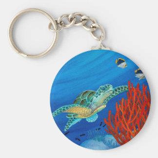 Honu and Black Coral Key Ring