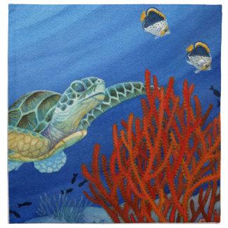 Honu and Black Coral Napkin