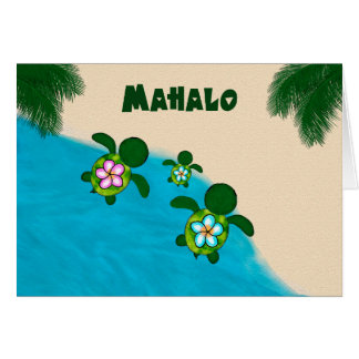 Honu BOY Sea TURTLE Baby Shower Thank You Blue 281 Card