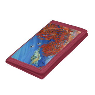 Honu (Green Sea Turtle) and Black Coral Trifold Wallet