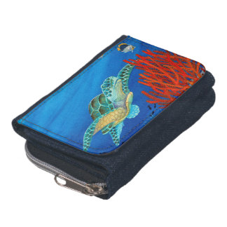 Honu (Green Sea Turtle) and Black Coral Wallet