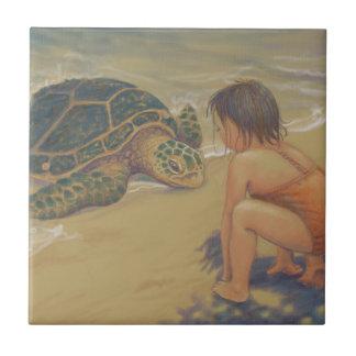 Honu (Green Sea Turtle) Greetings Small Square Tile