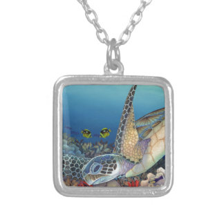 Honu (Green Sea Turtle) Silver Plated Necklace