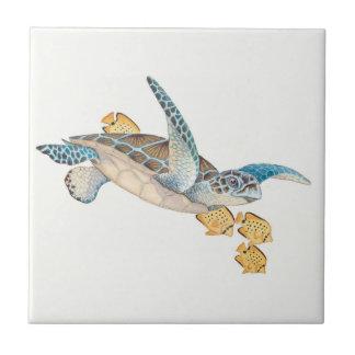 Honu (Green Sea Turtle) Small Square Tile