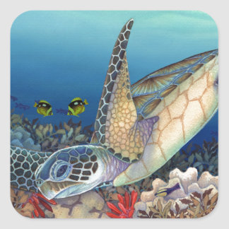 Honu (Green Sea Turtle) Square Sticker