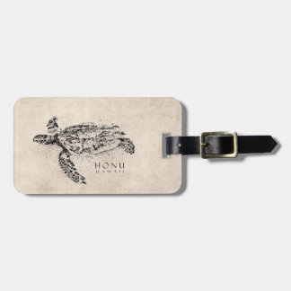 Honu Hawaiian Sea Turtle on Vintage Parchment Luggage Tag