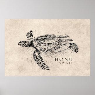 Honu Hawaiian Sea Turtle on Vintage Parchment Poster