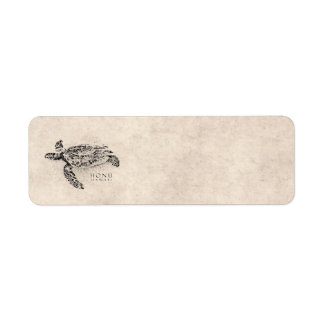 Honu Hawaiian Sea Turtle on Vintage Parchment Return Address Label