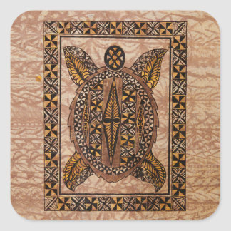 Honu Primitive Hawaiian Tattoo Tapa Square Sticker