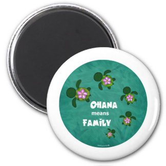 Honu Sea Family_circle 6 Cm Round Magnet