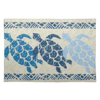 Honu Sea Turtle Hawaiian Batik - Natural and Blue Placemat