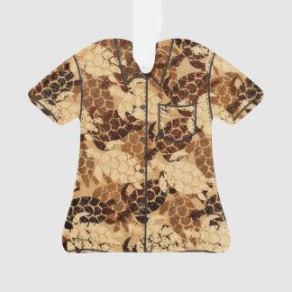 Honu Sea Turtle Hawaiian Faux Wood Aloha Shirt Ornament