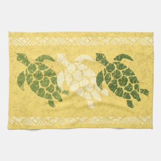 Honu Sea Turtle Hawaiian Tapa Batik -Banana Tea Towel