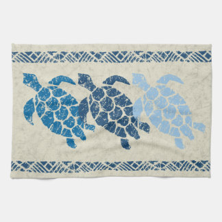 Honu Sea Turtle Hawaiian Tapa Batik -Indigo Tea Towel