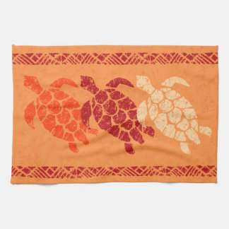 Honu Sea Turtle Hawaiian Tapa Batik -Papaya Tea Towel