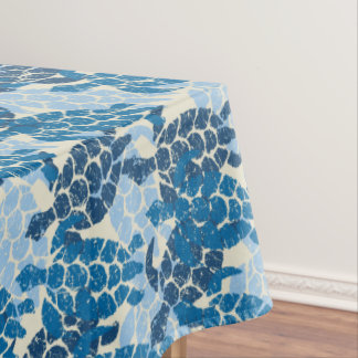 Honu Sea Turtle Hawaiian Tapa -Indigo Tablecloth