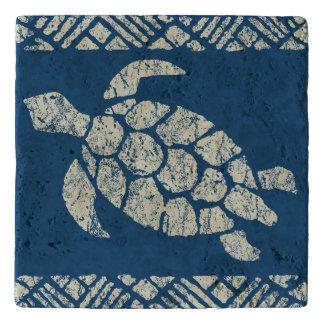 Honu Sea Turtle Hawaiian Tapa -Indigo Trivet
