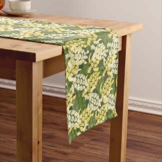 Honu Sea Turtle Hawaiian Tapa -Olive Short Table Runner