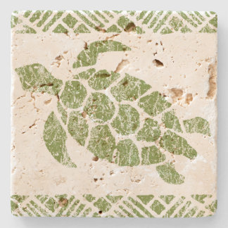 Honu Sea Turtle Hawaiian Tapa -Olive Stone Coaster