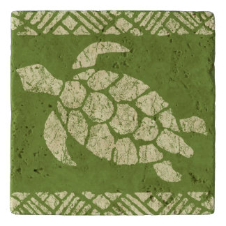Honu Sea Turtle Hawaiian Tapa -Olive Trivet