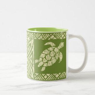 Honu Sea Turtle Hawaiian Tapa -Olive Two-Tone Coffee Mug