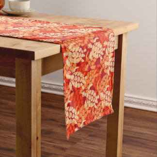 Honu Sea Turtle Hawaiian Tapa -Papaya Short Table Runner