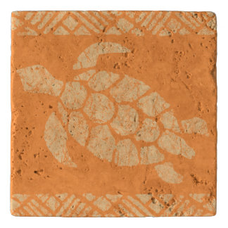 Honu Sea Turtle Hawaiian Tapa -Papaya Trivet