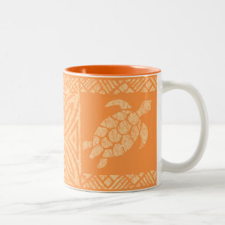 Honu Sea Turtle Hawaiian Tapa -Papaya Two-Tone Coffee Mug