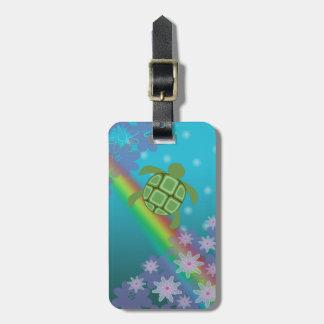 Honu Sea Turtle Tropical Swim Rainbow and Flowers Bag Tags