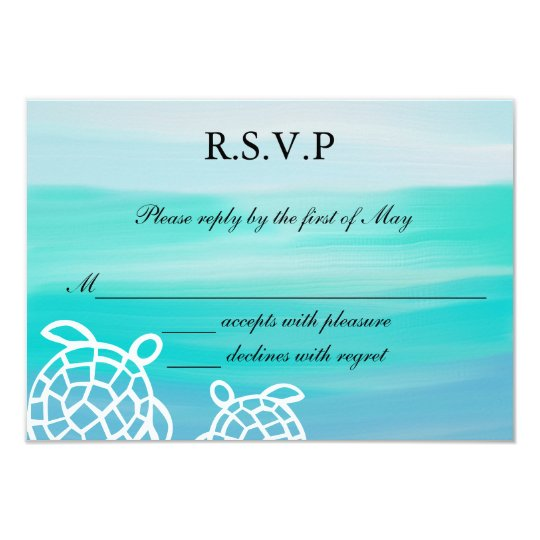 Honu Sea Turtles Beach Wedding RSVP Response Card