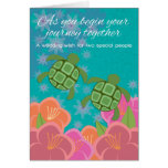 Honu Swimming Turtles Wedding Congratulations Greeting Card