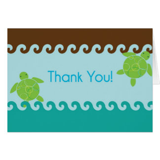 Honu Waves Thank You Card - Blue