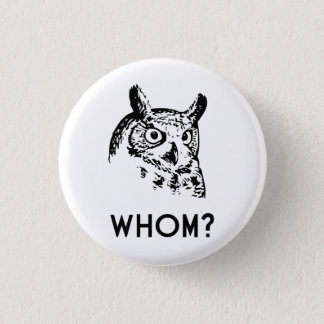 Hoo Who Whom Grammar Owl 3 Cm Round Badge