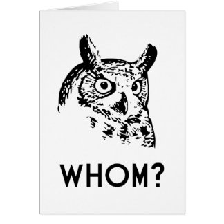 Hoo Who Whom Grammar Owl Card