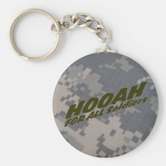 Hooah for all Soldiers Basic Round Button Key Ring