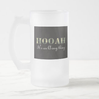 HOOAH 16 OZ FROSTED GLASS BEER MUG
