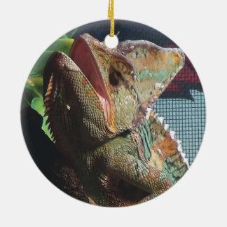Hooded Chameleon Hissing Christmas Ornament