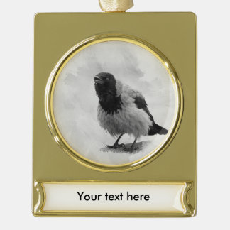 Hooded Crow Gold Plated Banner Ornament