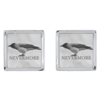 Hooded Crow - Nevermore Silver Finish Cufflinks