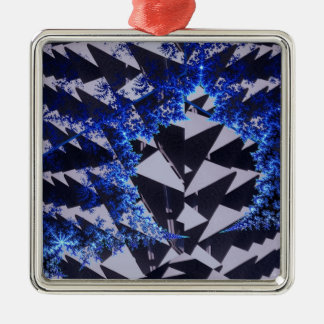 Hooded Fractals Silver-Colored Square Decoration