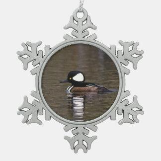 Hooded Merganser Pewter Snowflake Decoration