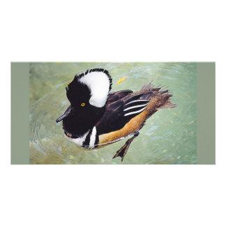Hooded Merganser's Webbed Feet Swimming Custom Photo Card