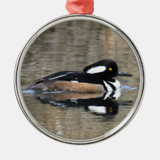 Hooded Merganser Silver-Colored Round Decoration