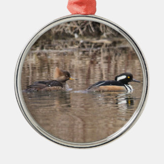 Hooded Mergansers Silver-Colored Round Decoration