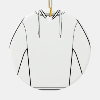 Hooded Pullover Shirt Drawing Round Ceramic Ornament